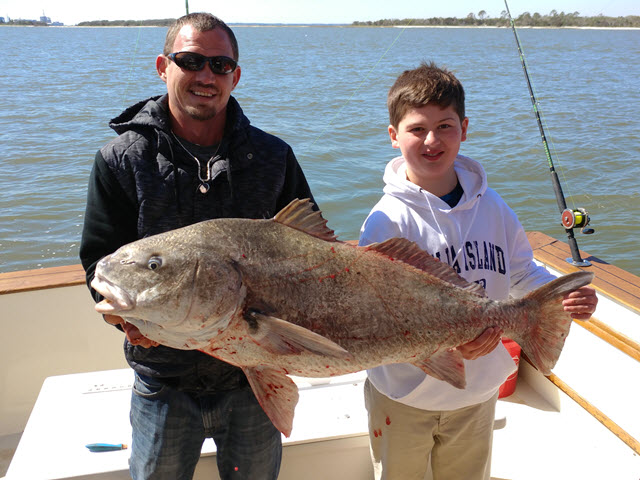 Griffin Meyers shows off his 50lb Black Drum caught off Fernandina Beach